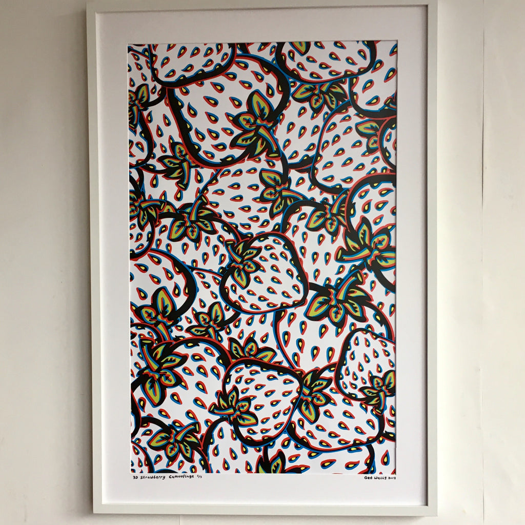 3D Strawberry  Camo A1 Giclee Print