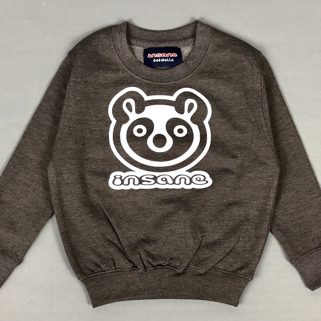 Insane Kids Panda Face Grey Crew Sweat.