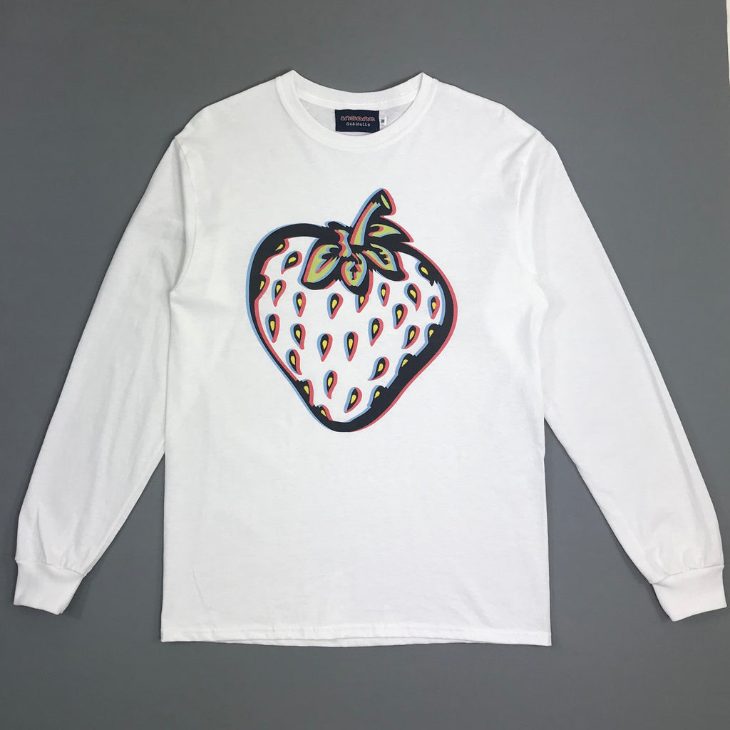 Insane 3D Strawberry White Long Sleeve T shirt.