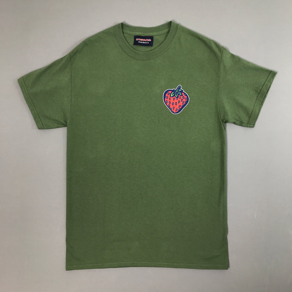 Insane Strawberry on Military Green T shirt.
