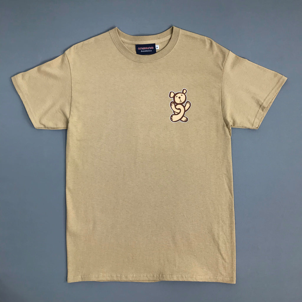 Insane Twisted Teddy on Tan T Shirt.