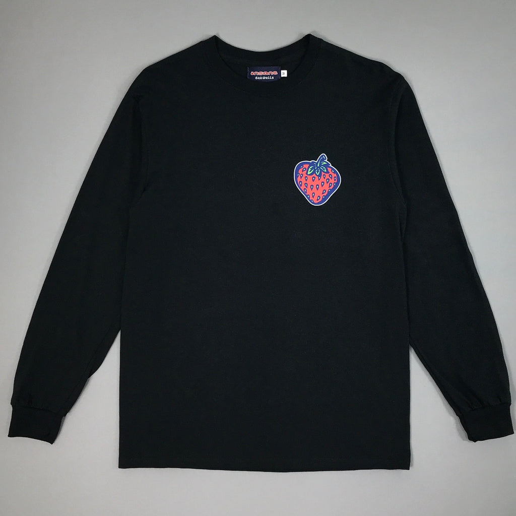 Insane Strawberry on Black Long Sleeve T shirt.