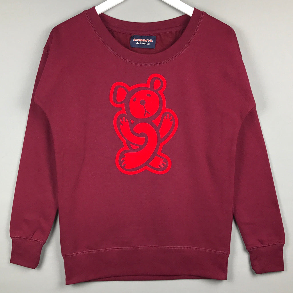 Insane Women's Twisted Teddy Burgundy Crew Sweatshirt.