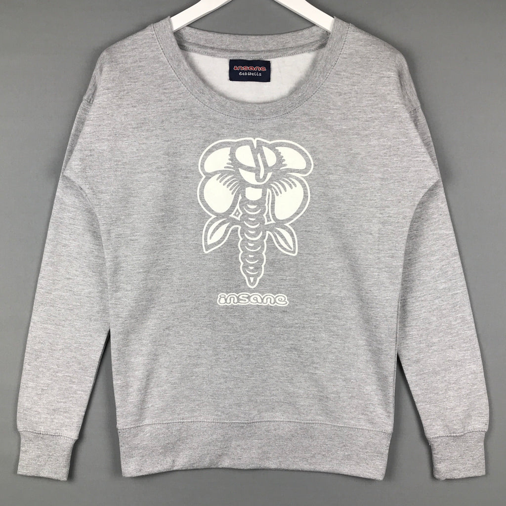 Insane Women's Screw Flower Grey Crew Sweatshirt.