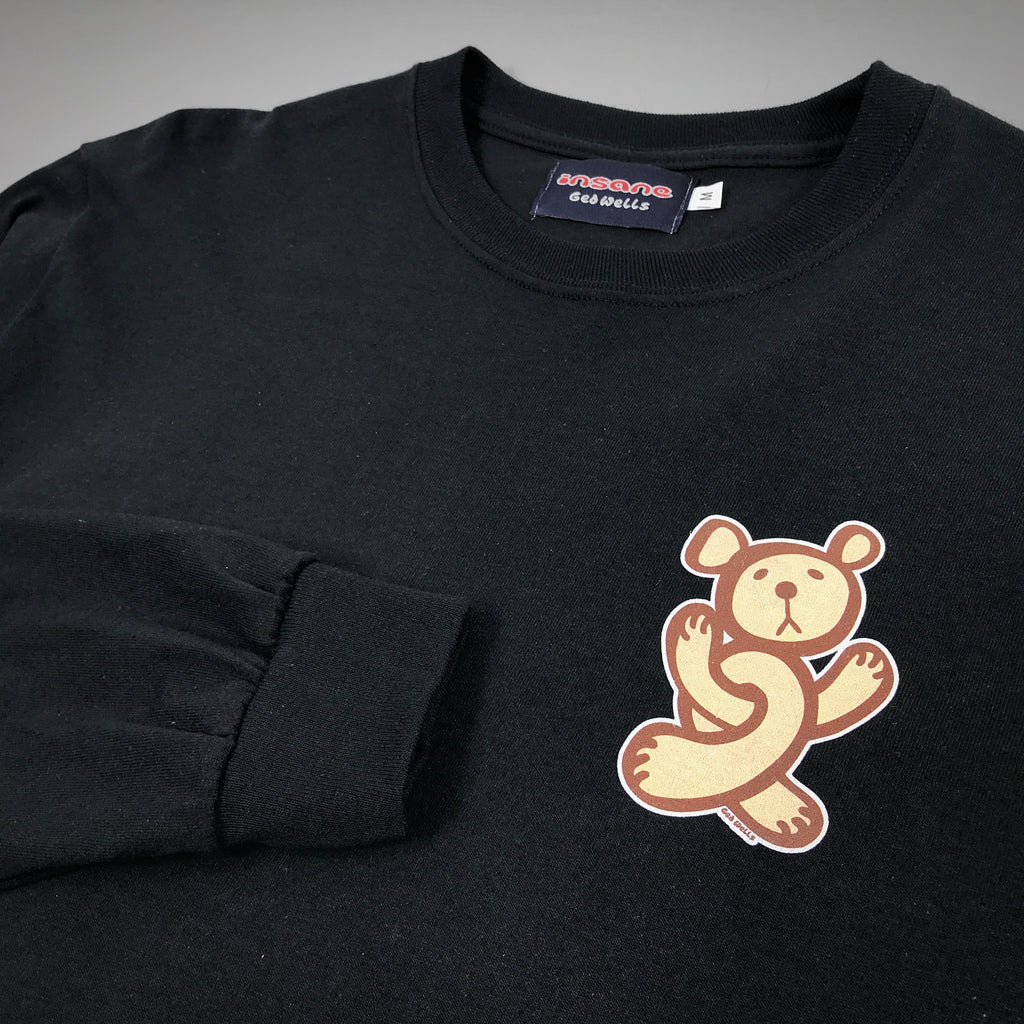 Insane Twisted Teddy on Black Long Sleeve T Shirt.