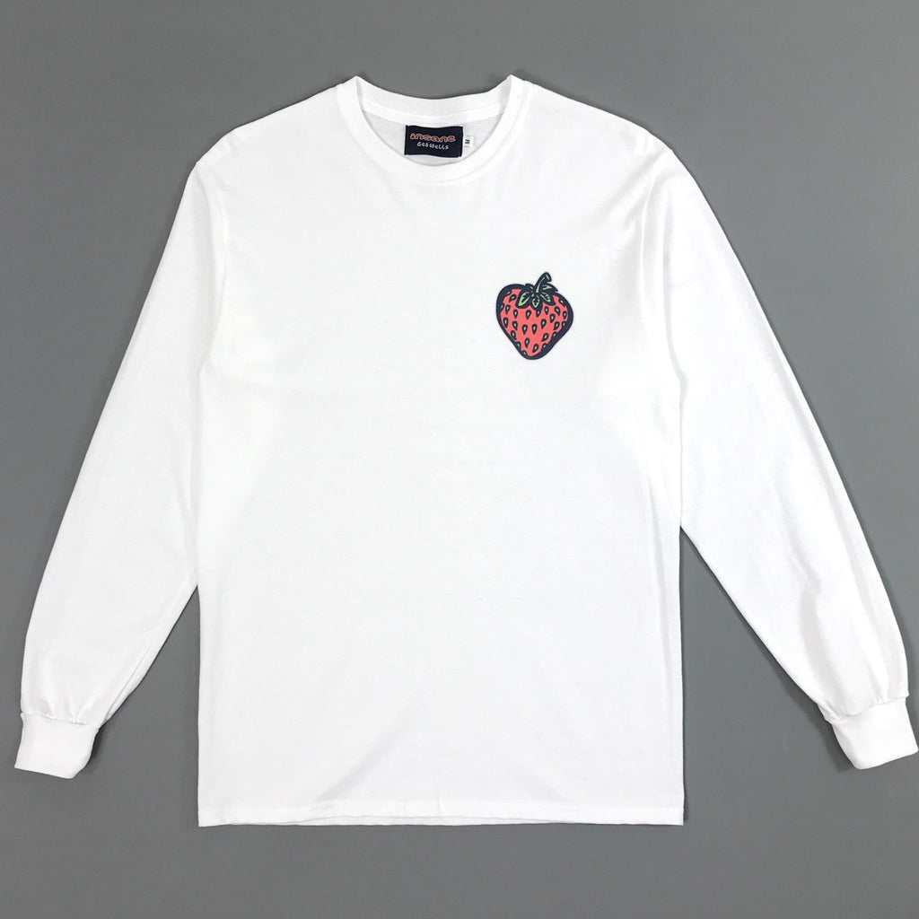 Insane Strawberry on White Long Sleeve T shirt.