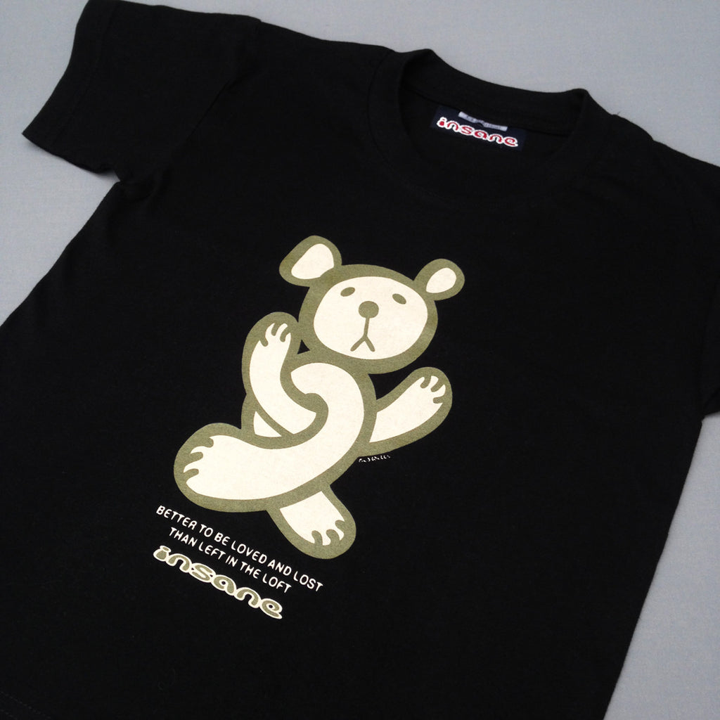Insane TWISTED TEDDY, Kids Black T Shirt.