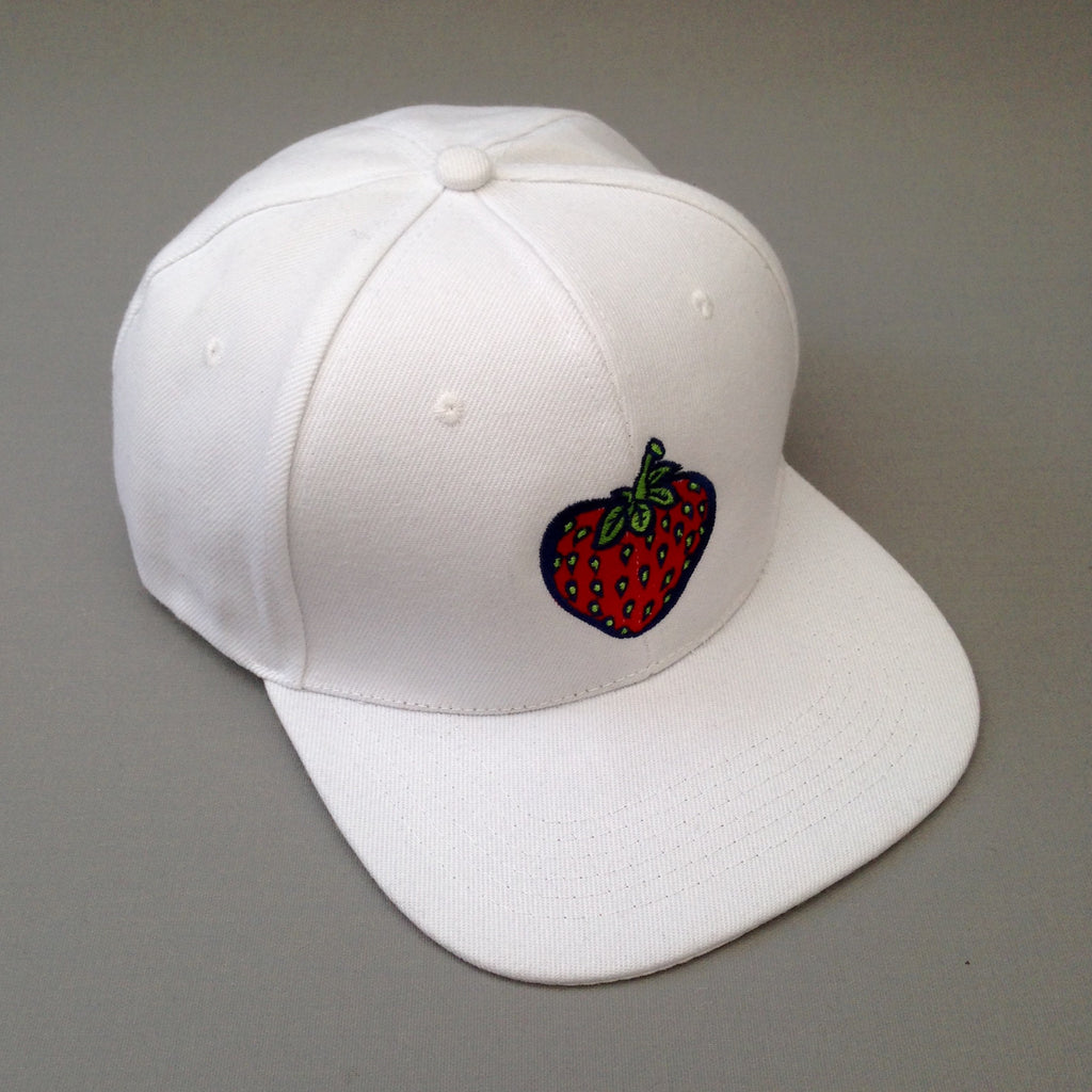 Strawberry white snapback cap.