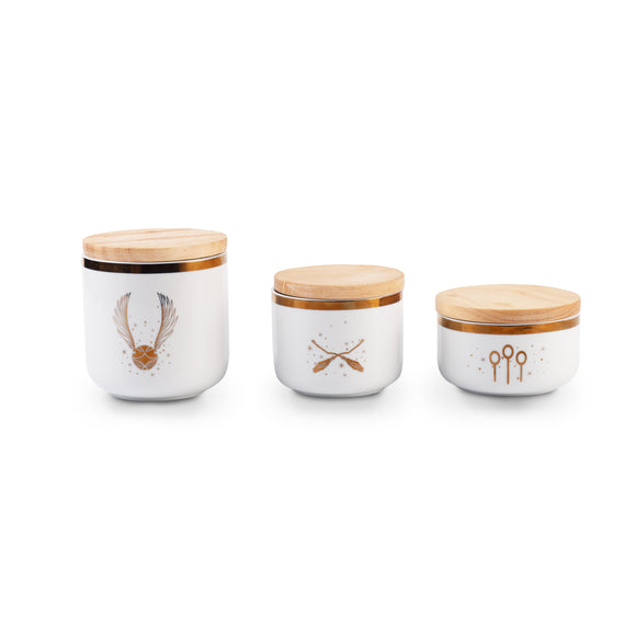 HP Golden Icons 3 Piece White Storage Jars Set