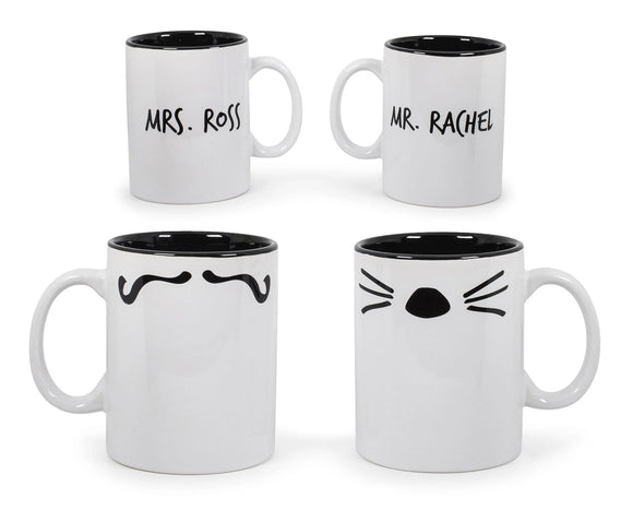 Friends Mr. Rachel and Mrs. Ross Whiskers and Mustache Double-Sided Mugs