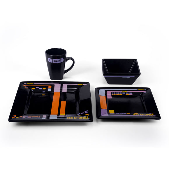 Star Trek Black TNG Lcars 16 Piece Dinner Set
