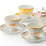 Disney Princess Ariel, Cinderella, Jasmine Belle Tea Set - 4 cups, 4 saucers, 1 tea pot, 1 creamer and 1 sugar bowl