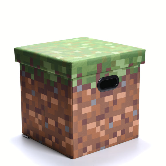 Minecraft Green Grass Block Storage Bin With Lid