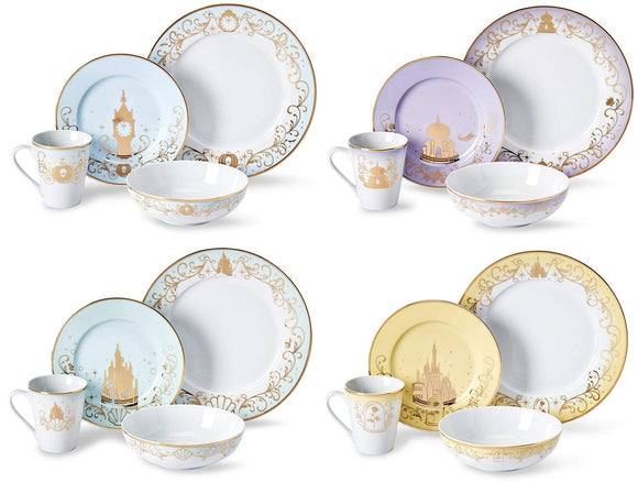 Disney Princess Dinnerware Set #1 - Cinderella, Jasmine, Ariel, Belle