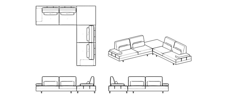 Letto Corner with Convertible Back
