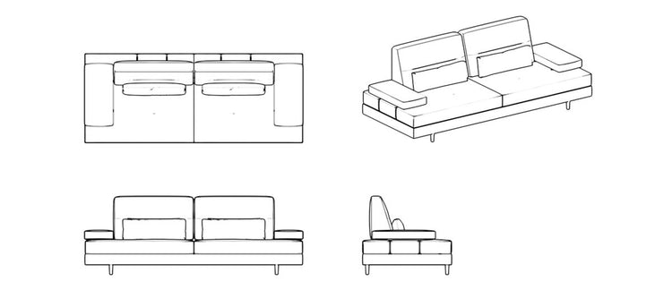 Letto Sofa Three Seater with Convertible Back