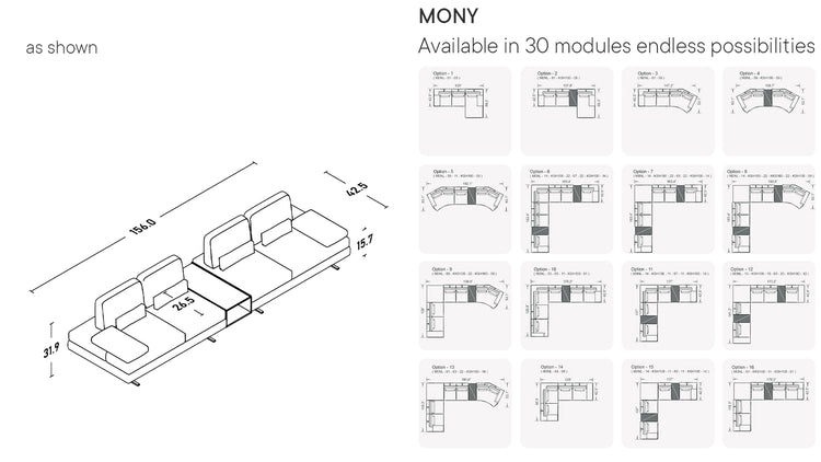Mony Double Sofa With Coffee Table