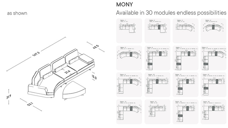 Mony Moon Chaise With Pouf