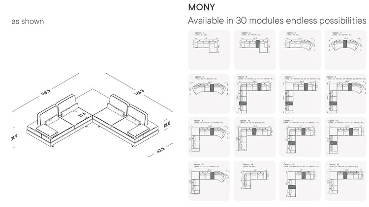 Mony Corner Sofa with Integrated Table