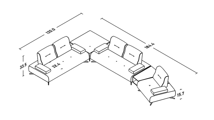 Panna Corner Sofa with Integrated Table
