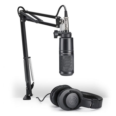 Audio Technica AT2020 Pack with Headphones, Desk Boom