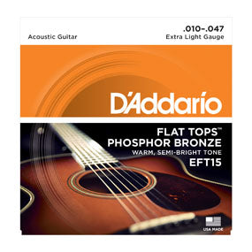 D'Addario EFT15 Flat Tops Extra Light Acoustic Guitar Strings