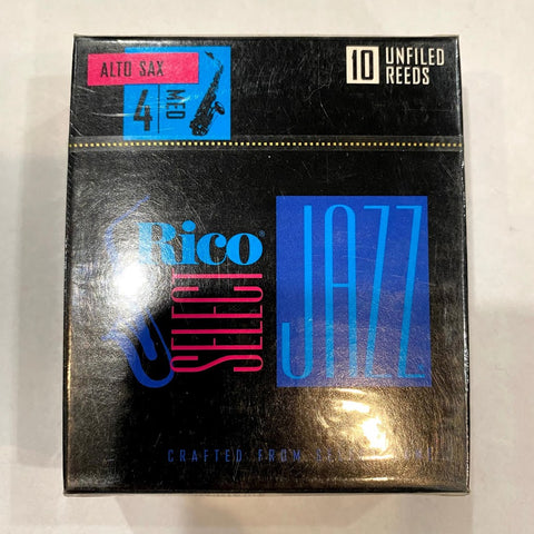 New Old Stock Rico Select Jazz Unfiled 4 Medium Alto Saxophone Reeds