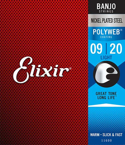 Elixir Nickel Plated Steel Polyweb Coated Banjo Strings