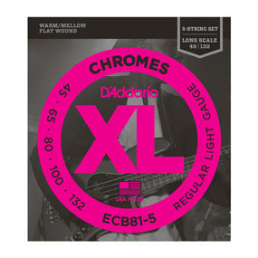 D'Addario ECB81-5 XL Chromes 5 String Light (45-132) Long Scale Electric Bass Strings