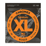D'Addario ECG23 XL Chrome Flat-Wound Extra Light Electric Guitar Strings