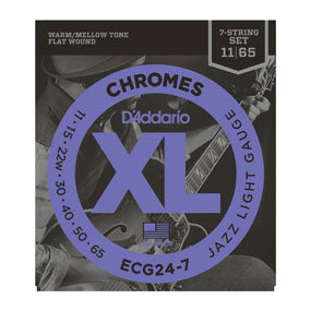 D'Addario ECG24-7 XL Chrome Flat-Wound 7 String Jazz Light Electric Guitar Strings