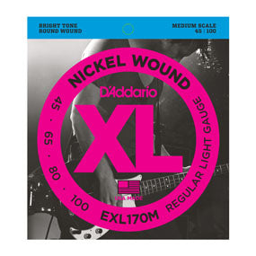 D'Addario EXL170M Nickel Wound Light (45-100) Medium Scale Electric Bass Strings