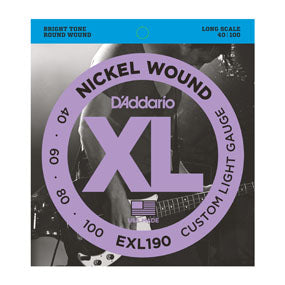D'Addario EXL190 Nickel Wound Custom Light (40-100) Long Scale Electric Bass Strings