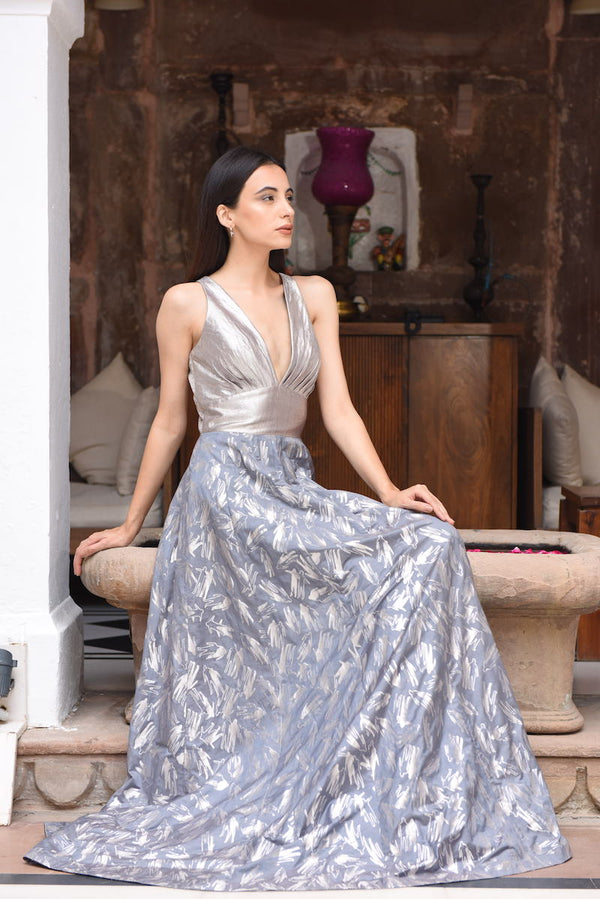 Women's Aatma Silver Brocade Evening Dress - Grey colour, Plunging neckline