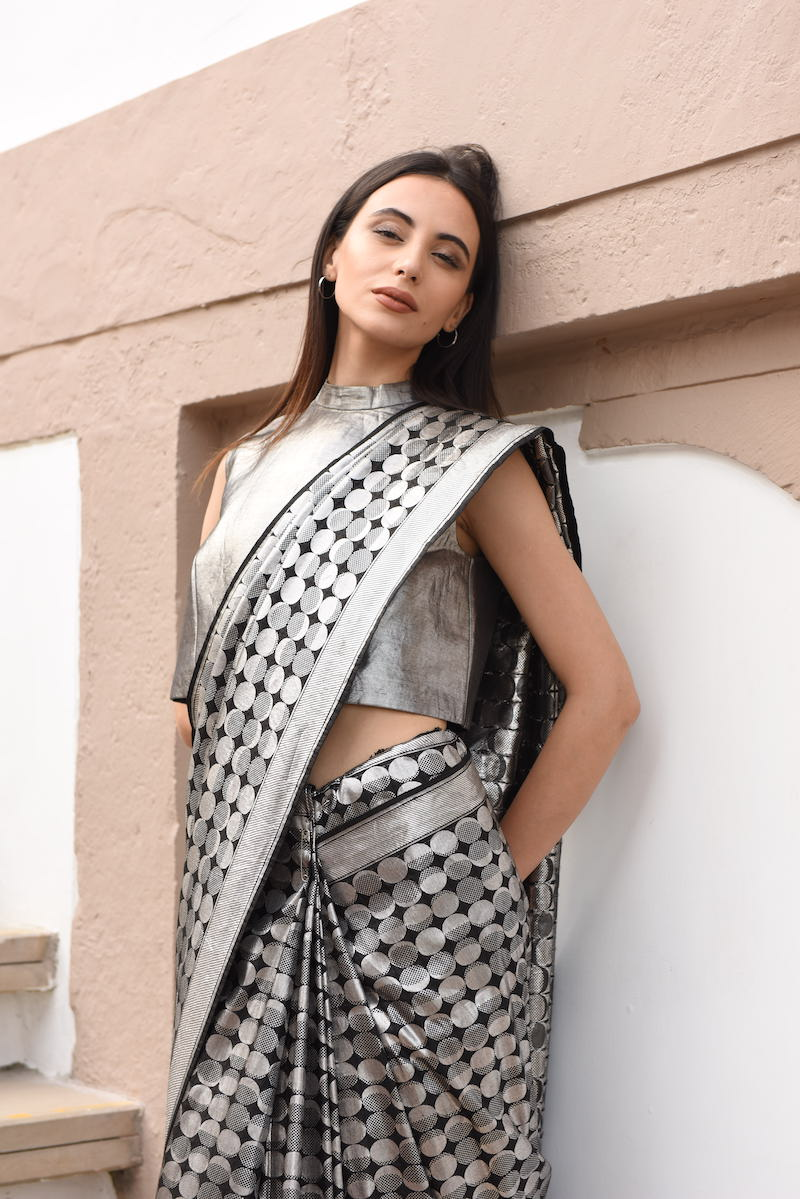 Women's Shyam-Chandra Silver Brocade Saree - Black colour