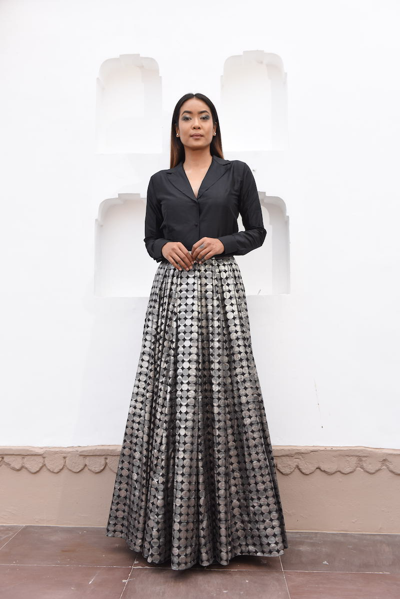 Women's Chandra Silver Brocade Lehenga - Black colour, panelled