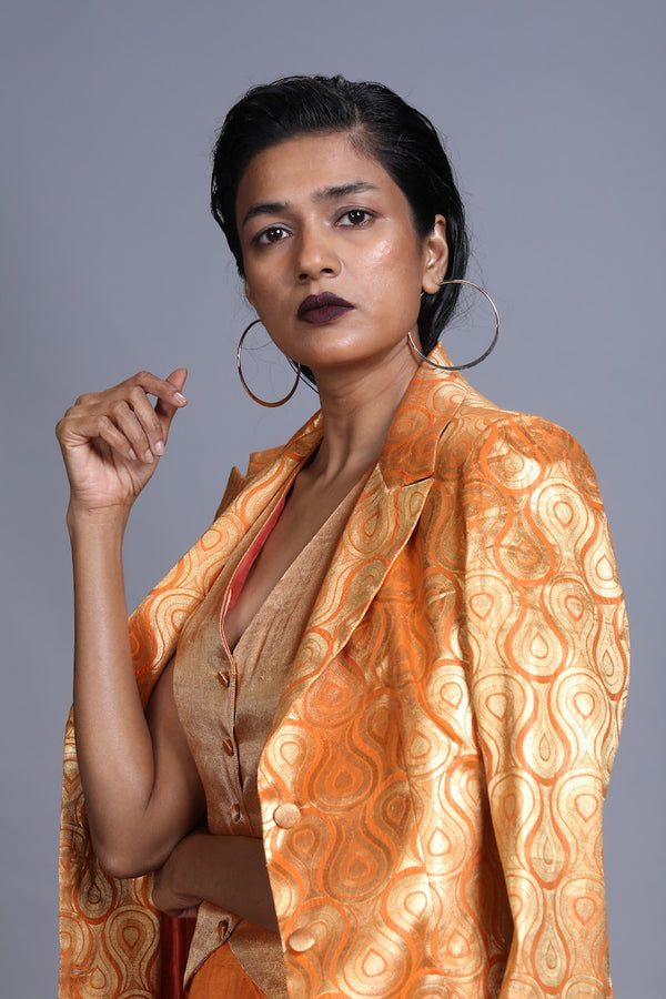Women's Agni Gold Brocade Jacket- Orange Colour, Single-Breasted, Three Button