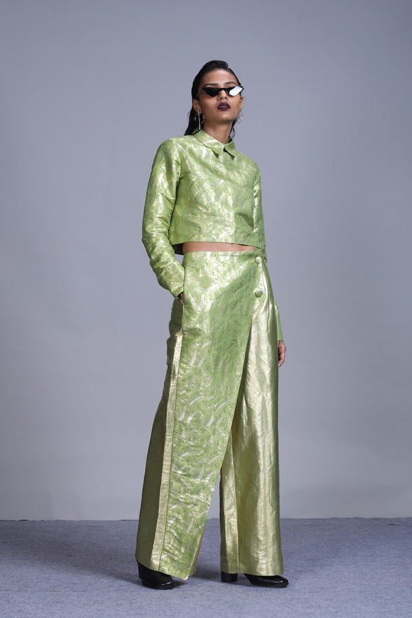Women's Jagat Gold Silver Brocade Trousers- Leaf Green colour, asymmetric overlay panel