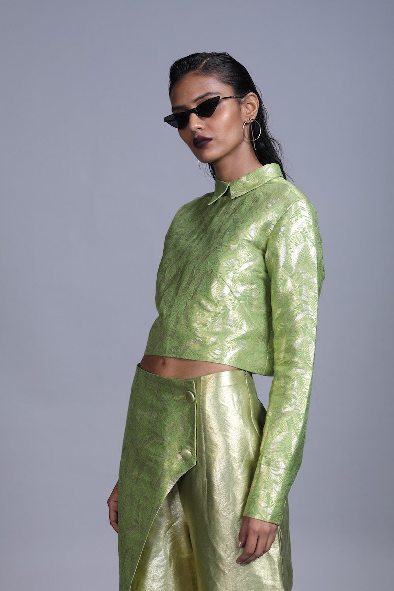 Women's Jagat Gold Silver Brocade CropTop-  Leaf Green Colour, Boxy Fit