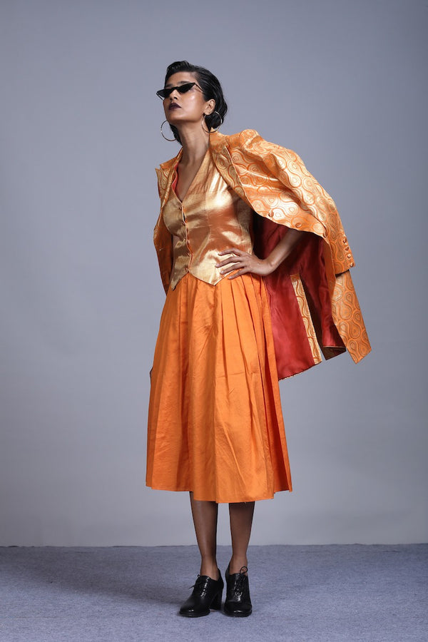 Women's spun silk skirt- Orange Colour, Knife-pleated, calf-length
