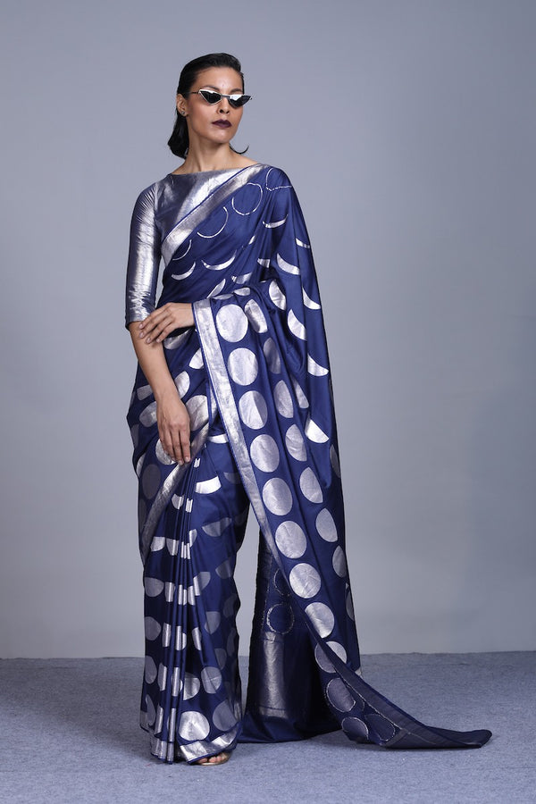 Women's Neel-Chandra Silver Brocade Saree - Navy Blue colour