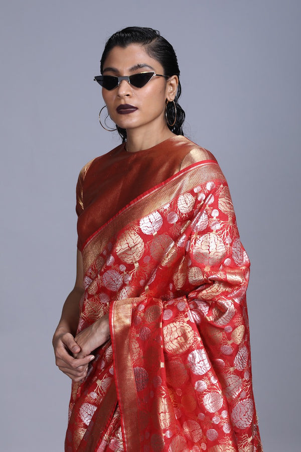 Women's Mano Gold-Silver Brocade Saree - Red colour