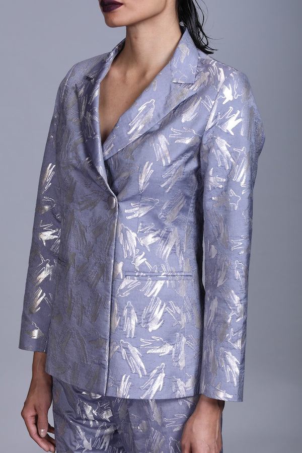 Women's  Aatma Silver Brocade Jacket - Grey colour, Single Button, Double-breasted