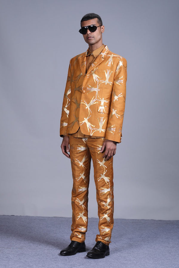 Men's Deh Gold-Silver Brocade trousers - Mustard colour, slim-fit