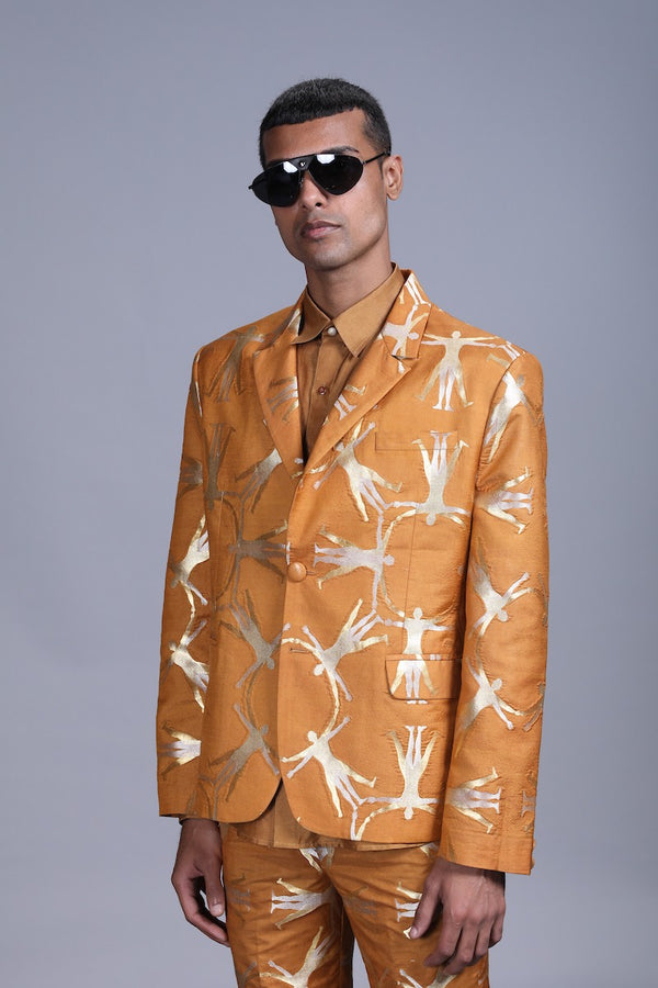 Men's Deh Gold-Silver Brocade Jacket - Mustard colour, Notch-lapel collar