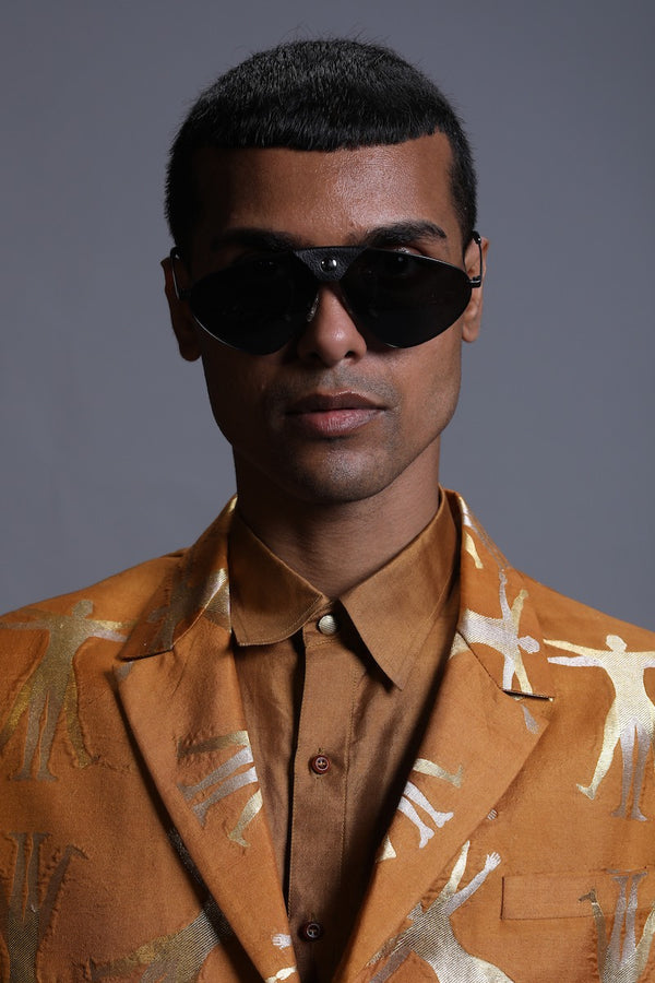 Men's Spun Silk Shirt- Mustard colour, full-sleeves