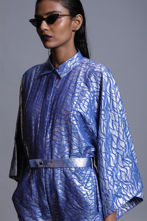 Women's Udaka Silver Brocade Boiler Suit- Ocean Blue colour, Kimona Sleeves, detachable belt