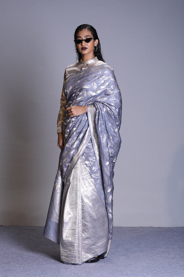 Women's  Aatma Silver Brocade Half-n-half Saree - Grey colour