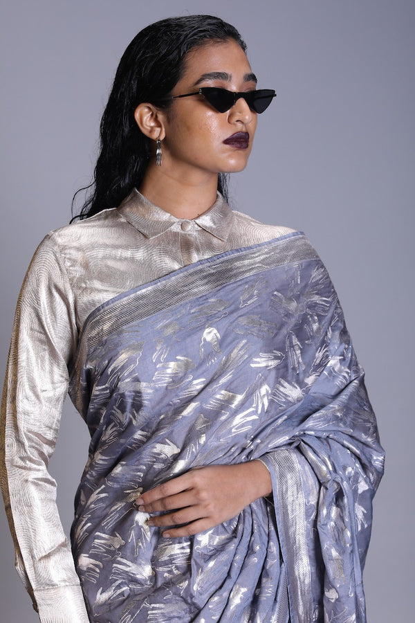 Women's Full-metallic shirt-  Silver colour, full sleeves