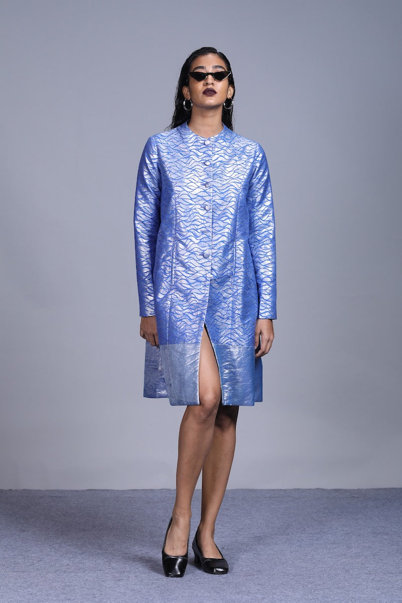 Women's Udaka Silver Brocade Panelled Jacket dress- Ocean Blue colour, Full Sleeves